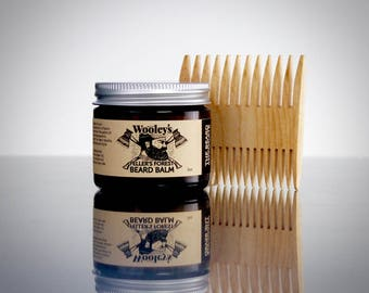 Woodsy Beard Balm and Comb Combo, Wooley's Feller's Forest Beard Balm, Beard Conditioner, Mustache & Beard Oil, Soft Beard, Beard Oil, Comb