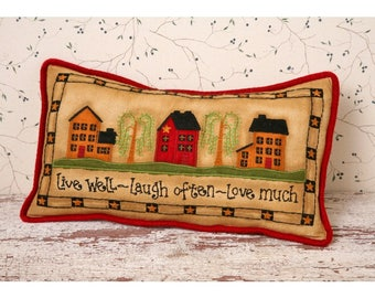Live, Laugh, Love House Stitchery Pillow
