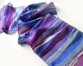Hand-Painted Silk Scarf, Crazy Stripes, Any Season, Gift Women