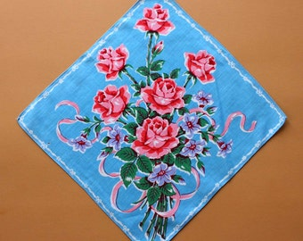 Vintage Handkerchief with Floral Bouquet Design