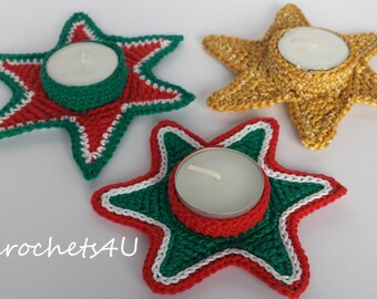 crochet pattern tea light, crochet tea light, crochet star, crochet star tea light, christmas crochet, christmas decoration
