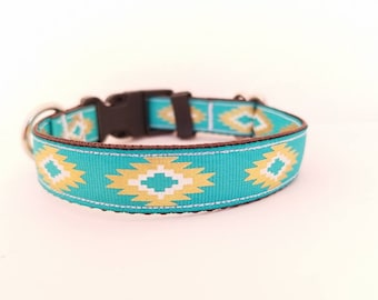 Teal aztec dog or cat collar