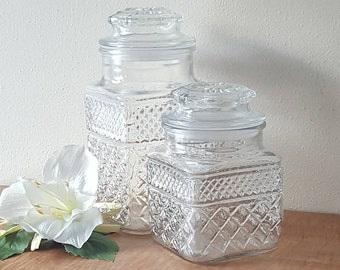 Apothecary Jar Set Clear Glass Wexford Canisters by Anchor Hocking Glass Storage Containers Wexford Glass Jars