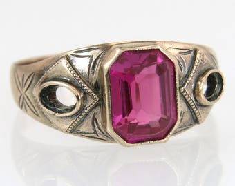 Antique Estate Engraved 12K Yellow Gold 2.00ct Ruby Art Deco Ring