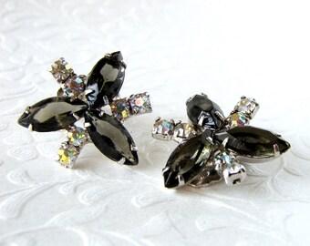 Vintage Rhinestone Earrings Aurora Borealis Black Diamond Smoke Gray Clip Back Formal Evening Pageant Ballroom Prom Wedding Costume Jewelry
