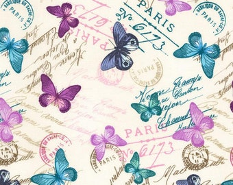 Bonjour-Butterflies and Writing -Timeless Treasures -Cotton Fabric- Quilt- Apparel-WindyRobinCotton- *Sold in Half Yard.