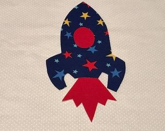 Rocket ship iron on applique DIY