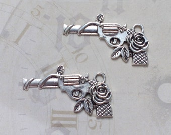 12 Gun Flower Charms Silver Rose Gun Pistol Charm - CS3109