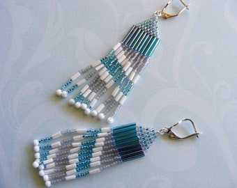 Beaded Aqua, White and Silver Dangle Earrings with Striped Fringe