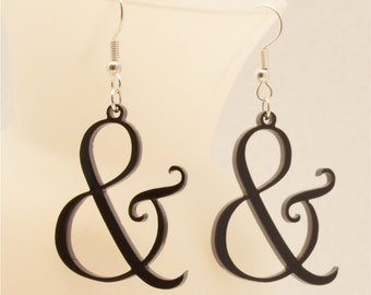 FREE SHIPPING Laser Cut Ampersand Earrings,Earrings for Niece,  FREE Gift Wrapping, Mother's Day Gift