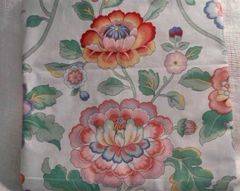 """CREWEL PRINT Polished Cotton Pillow Cover, Spring Floral Red Pink Blue & Yellow Blooms Green Leaves, 15"""" sq Jay Yang Fabrics Sofa Chair 1"""