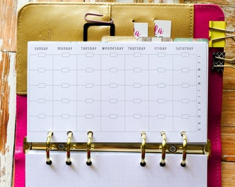 Printed Monthly Planner Inserts for use with Filofax Style Planners from The Awesome Planner Set {M-45S}