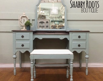SOLD- Antique vanity set- duck egg blue with stained wood top