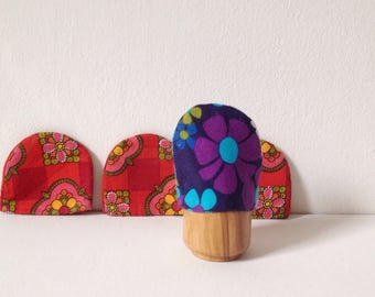 Retro egg cosies made from 1970s fabric, vintage egg cosy set