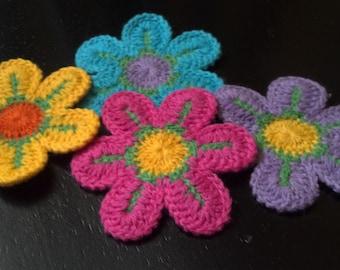 Lot of 20 Large Handmade Crochet Flower Appliques