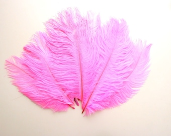 Ostrich feathers pink 5-7 inches, Shocking pink ostrich feathers, Hot pink burlesque feathers, Fuffly pink feathers, Real pink feathers