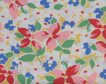 White, Blue, Red, Pink & Green Floral on Yellow 100% Cotton Quilt Fabric, Hi-De-Ho!, a Kim's Cause Collection by Maywood Studios, MAS9135-S