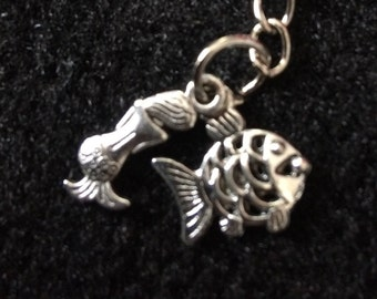 Mermaid and fish keychain