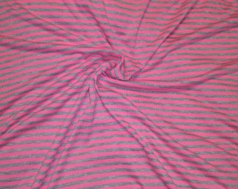"Neon Pink & Grey 1/4"" Striped Jersey Knit"