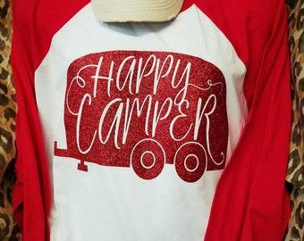 Happy Camper Glittered  Raglan Shirt