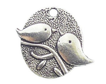 BULK 40 Silver Kissing Birds Charm Pendant 25x29mm by TIJC SP0672B