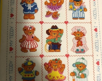 APRILSALE Dimensions, Playtime Bears, Lucy Rigg, Book Three #115 Vintage 1986 counted cross stitch design
