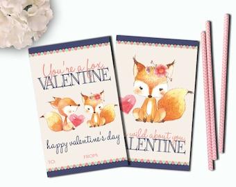 Fox Valentine Cards, Girl Valentine, Fox Valentine, Valentines School, Printable Kids Valentines, Valentines Day, INSTANT DOWNLOAD