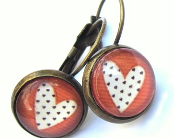 Red Heart Earrings Glass and Brass Pierced Ears Boho Fashion Jewelry