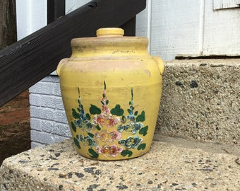 Antique Bean Pot with Hand Painted Flowers