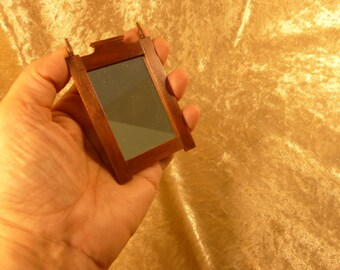 Brown wood dollhouse miniature mirror frame 1:12 scale