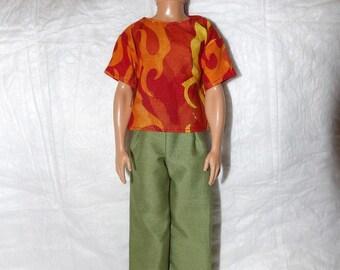 Fire print shirt & green pants for male Fashion Dolls - kdc93
