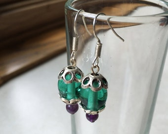 Teal Drop Earrings, Amethyst Earrings, Blue Dangle Earrings, Aqua Blue Earrings, Amethyst Jewelry, Dangle Earrings, Summer Earrings