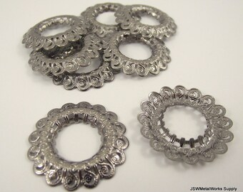 Antiqued Gunmetal Plated Filigree Open Round, 29mm, 10 Pieces
