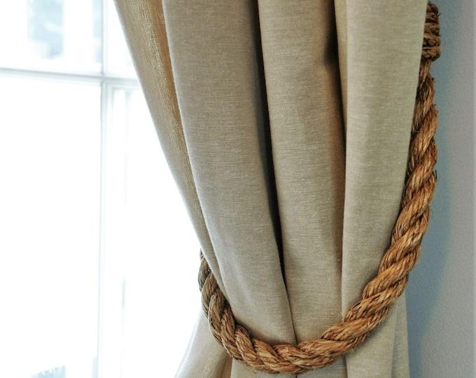 Chunky Rustic Manila Rope Curtain Tiebacks shabby chic vintage style tie backs
