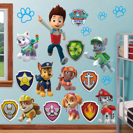 paw patrol wall stickers kids decor removable decal decals art. Black Bedroom Furniture Sets. Home Design Ideas