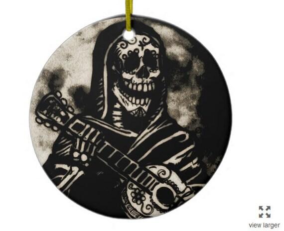 Sugar skull guitarist Christmas ornament