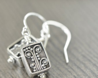 Bali earrings sterling silver flowers, filigree blackened silver botanical earrings