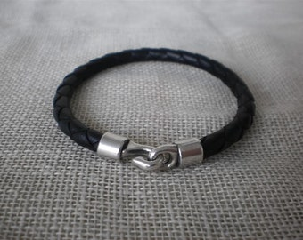 Braided Leather Bracelet and metal