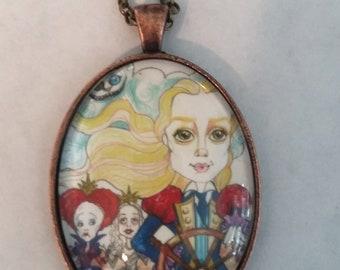 Captain Alice Thru The Looking Glass Fairytale Pendant Art Necklace Funky Art Big Eye Art Jewelry