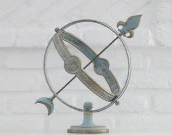 Verdigris Brass Armillary Sundial, Fleur-de-Lis Celestial Design and Roman Numeral Sphere Sundial, Weathered Garden Patio Sphere Decor
