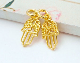 2 of 925 Sterling Silver 24K Gold Vermeil Style Little Hamsa , Hand Of Fatima Charms 7x12.5 mm.  :vm0646