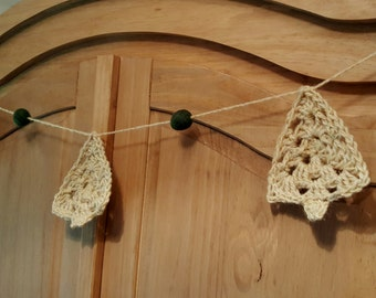 Crochet Christmas Tree Garland. Rustic garland. Homespun Christmas