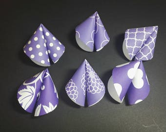Origami Chinese Fortune Cookies set of 6, with a mix of ultra violet designs