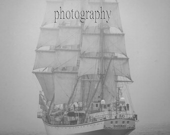 Tall Ship Photo, Sail Prints,  Ship in Fog Photography, Ocean Photography, Black and White Photo