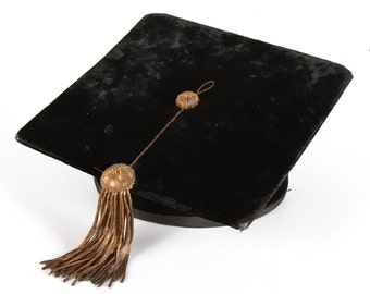 "Vintage Cotrell and Leonard Graduation Cap / Antique 6 7/8"" Intercollegiate Bureau of Academic Costume / Old Black Graduation Cap Hat"