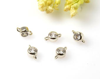 Round Cubic Connectors, 3mm Cubic Zirconia Connector Pendant, Round CZ Connector, Tarnish Resistant Silver Plating Cubic Zirconia Connectors