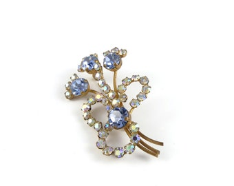 Vintage brooch, mid century brooch, flower brooch from the 1950's, stunning blue rhinestones and aurora borealis, costume jewellery.