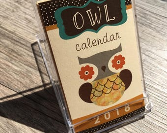 2018 Mini Owl Desk Calendar (NOTE: business card size)