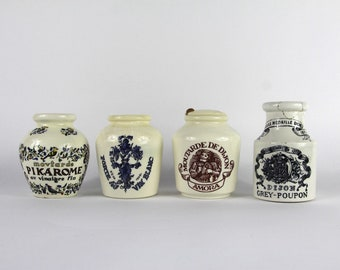French Vintage Mustard Pots, Collection of 4, Dijon Grey Poupon,  Maille Paris Glazed jar, Earthenware, Stoneware