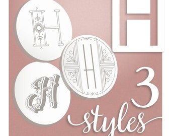 Modern Monograms Letter H hand embroidery patterns in three styles Alphabet Letter embroidery designs by SeptemberHouse